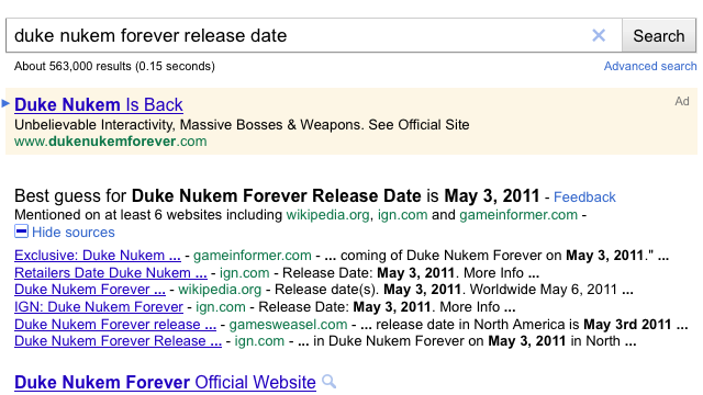 Google Now Guesses Release Dates for Movies and Video Games