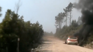 Rally Portugal Safety Car Catches Fire On Stage, Left To Burn