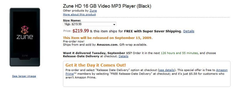 Amazon Will Deliver Zune HD to Your Door on September 15 Launch