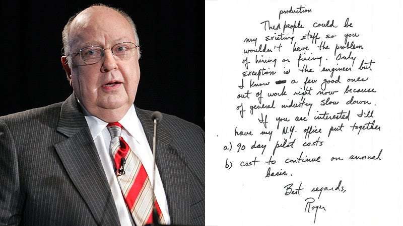 Handwriting Expert: Roger Ailes' Downstrokes Are Huge
