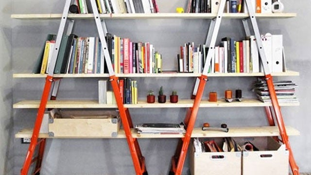 DIY Bookshelves from Ladders