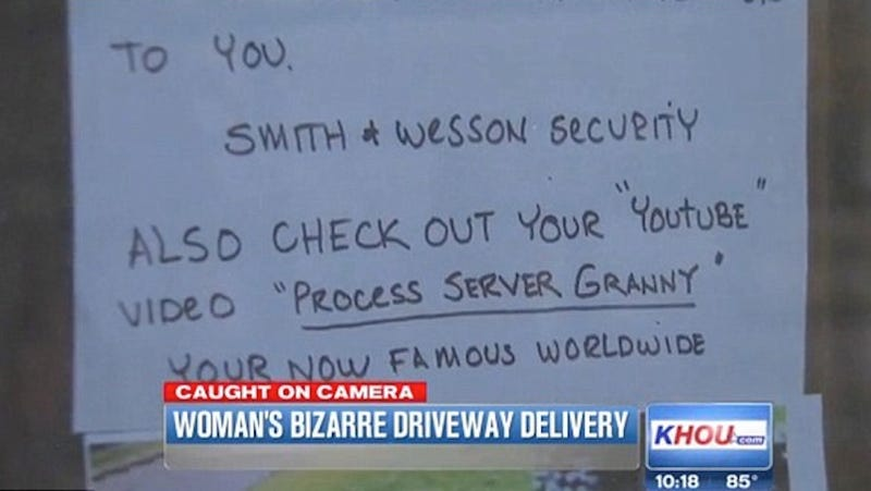 Process Server Grandma Caught Urinating Spitefully on Driveway