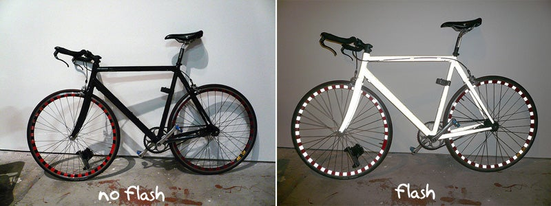 Retroreflective Bright Bike Looks Black, Glows White in Headlights