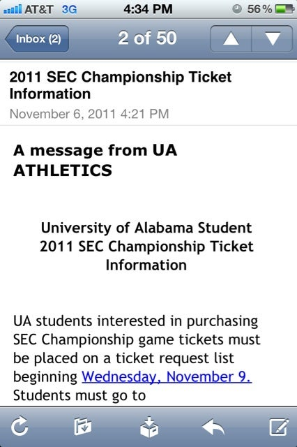 Alabama Waited Until Sunday To Give Students SEC Championship Ticket Info
