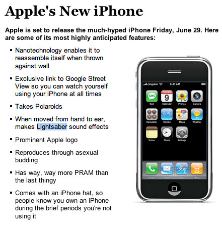 Onion Does iPhone Parody