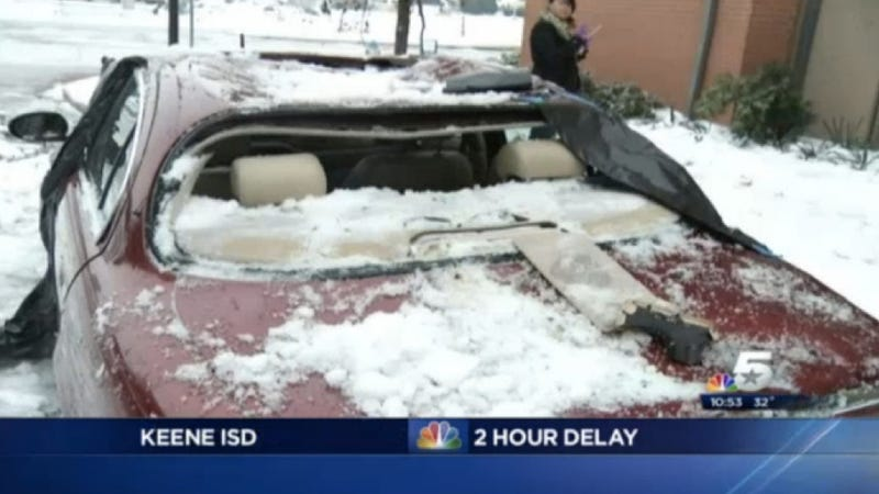 Falling Ice Obliterates Jaguars And Corvettes In Dallas
