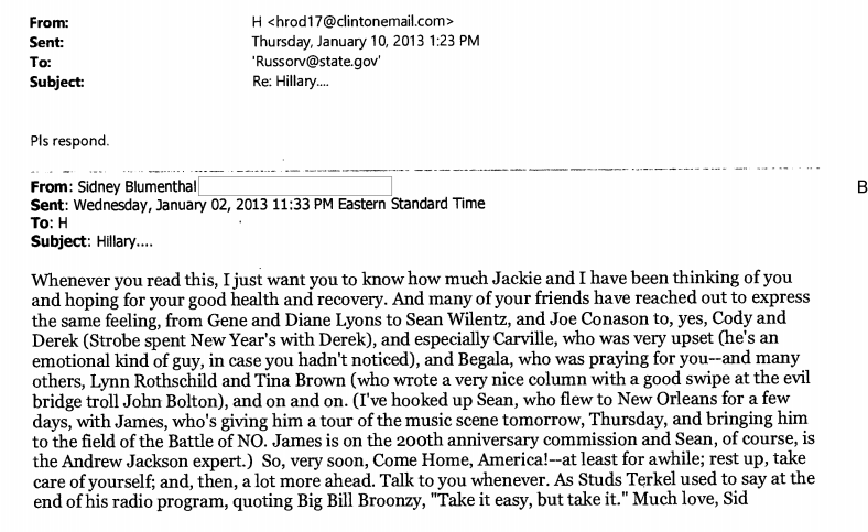 Which Friend of Sid Blumenthal Did Hillary Try to Hook Up with a State Department Job?