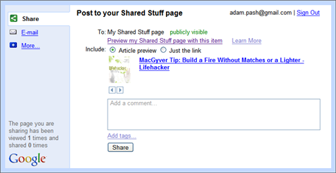 Share Web Sites with Google Shared Stuff