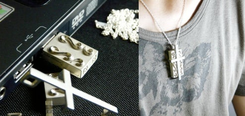 Solid Alliance Silver Cross USB Drive is Holy Data Bank, for Goth Jewelry Geeks