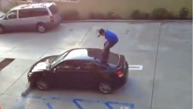 Caught on Camera: Boyfriend Busts Up Cheating Girlfriend's Car, Nearly Busts Himself Up in the Process