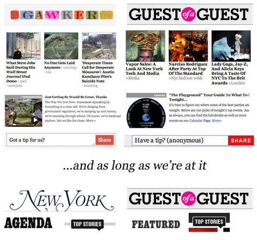 Battle of the Blog Designs: The Guest of a Guest vs. Gawker Design War