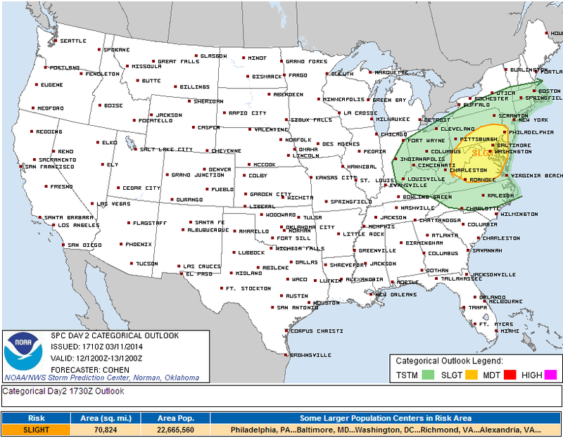 Here's Why Severe Storms Are Expected from Philly to Roanoke Tomorrow