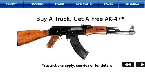 Used Truck Dealer Offers Free Assault Rifle with Every Purchase