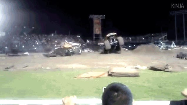 Monster truck loses control, stops just before killing everyone