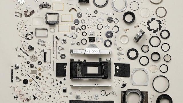 A Pentax Camera Beautifully Exploded