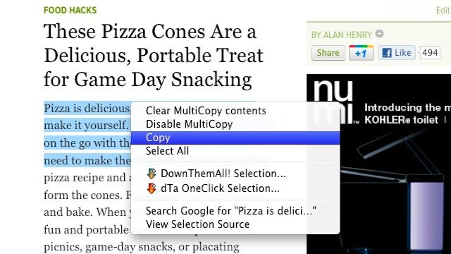 MultiCopy for Firefox Copies Multiple Snippets of Text At Once