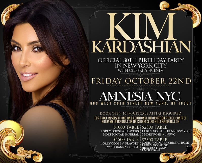 You're Invited to Kim Kardashian's Birthday Party—For Only $2,500
