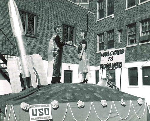 The USO entertains troops on the Moon