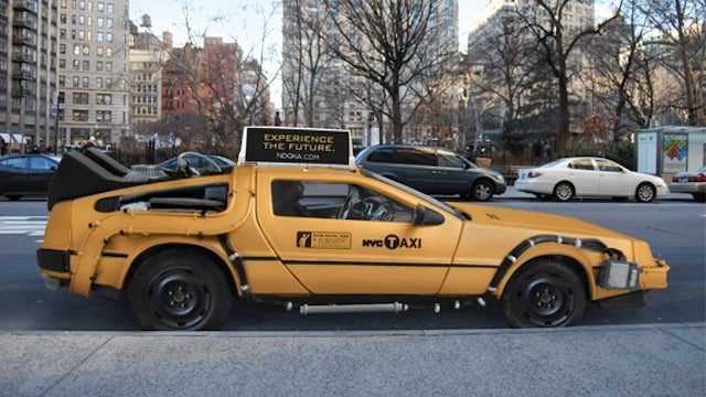 DeLorean taxi takes you to your appointment across town and half an hour ago