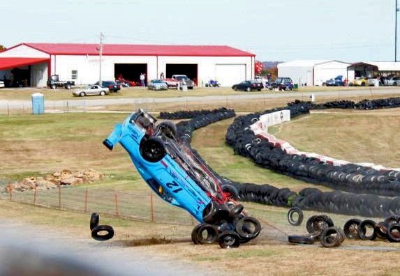 Mustang Cover Boy Tries To Corner, Flips Over Tire Wall