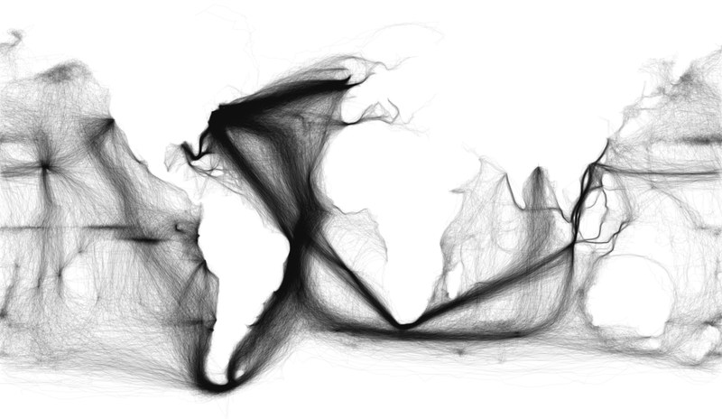 A map of 19th Century shipping routes and nothing else