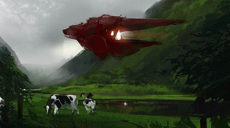 A pastoral scene with cows and starships