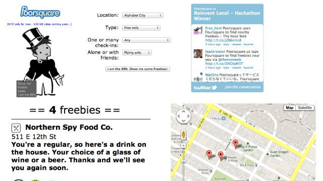 Poorsquare Finds All the Foursquare Freebies Near You