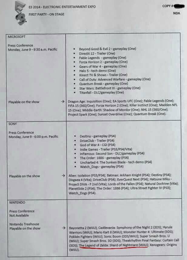 Rumor: E3 2014 Presentation Info Leak