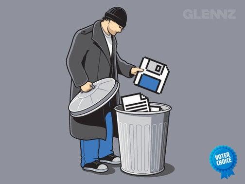 'Trash' T-Shirt Shows a Digital Hobo at Work