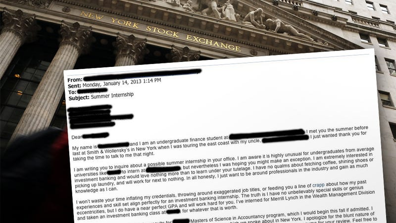'Unapologetically Honest' Wall Street Internship Cover Letter from 'Nothing Special' Undergrad Lands Him Every Job Offer Available