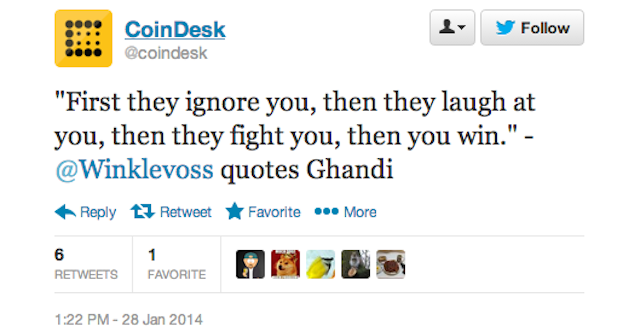 Dear Winklevoss Twins: Please Don't Ever Compare Bitcoin to Gandhi