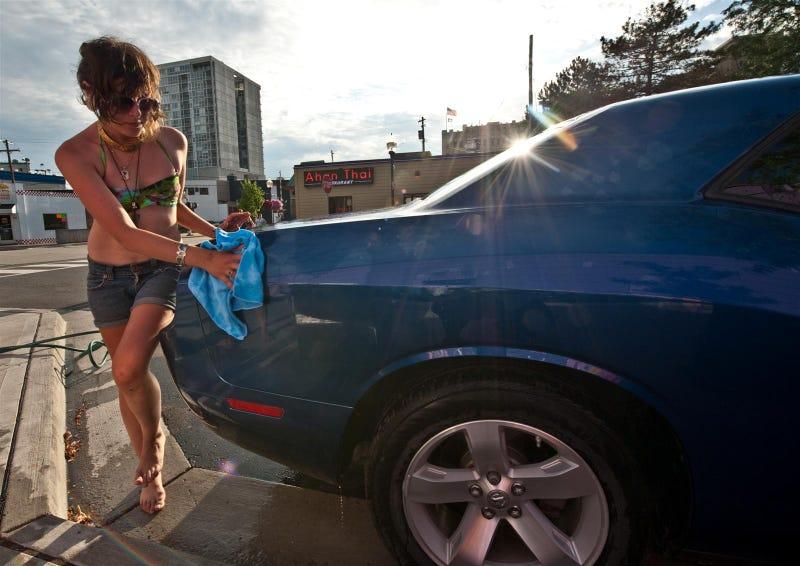 Noir Leather Bikini Car Wash Meetup Pictures