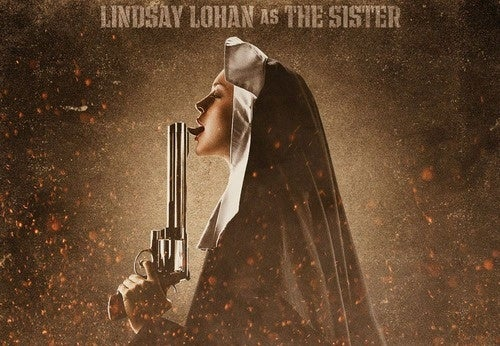 Lindsay Lohan Tongues A Pistol In Machete Poster