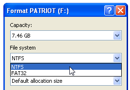 Format a USB Drive as NTFS in Windows XP