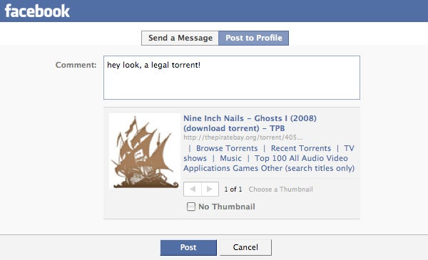 The Pirate Bay Lets You Share Torrents on Facebook