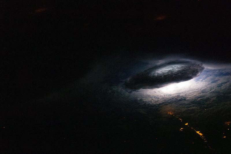 Stunning photo of lightning illuminating Earth