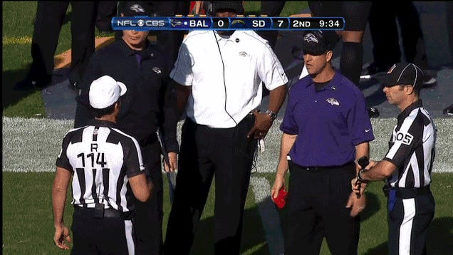 Who Has The Funnier Challenge-Flag-Throwing Motion, John Harbaugh Or Mike Smith?