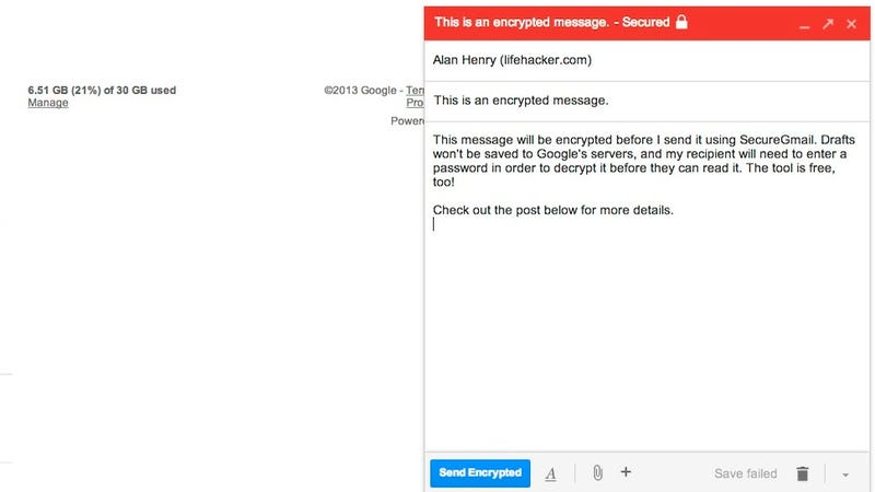 SecureGmail Encrypts Your Gmail Messages with One Click