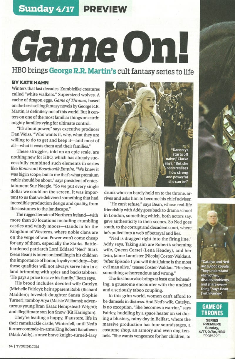 Game of Thrones TV Guide Scans