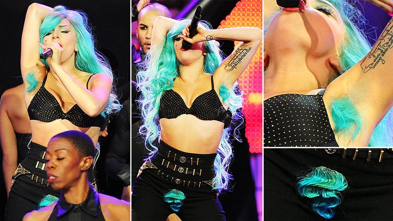 Lady Gaga Shows Off Turquoise Pubes and Armpit Hair