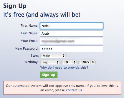 Is Your Last Name 'Arab'? Hope You Don't Want a Facebook Account!