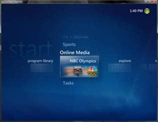 "Windows Media Center Offers ""Olympics on the Go"""