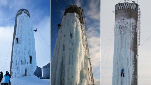 A Converted Silo Ice Climbing Wall Is the Only Reason Why Winter Exists