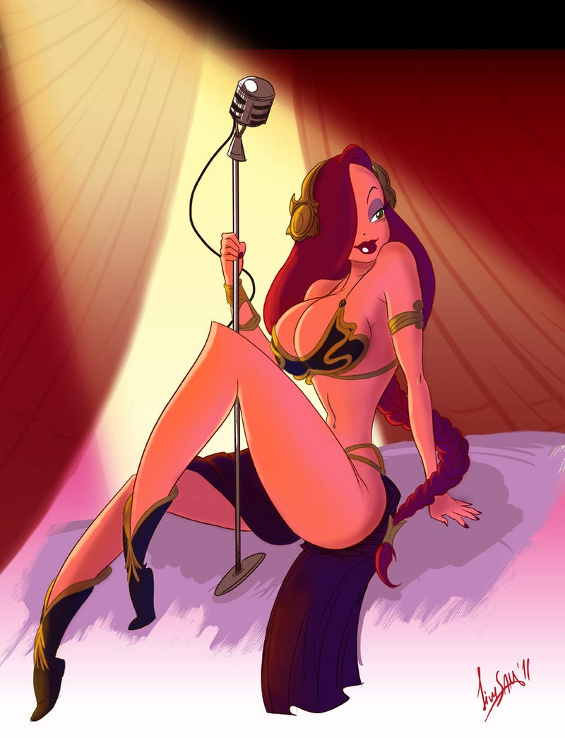 See Jessica Rabbit dressed up like Slave Leia