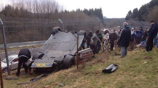 Nissan GT-R Flips Into Crowd At Nürburgrin