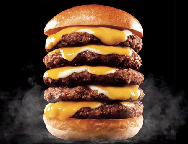 Can anyone really eat this insane five-patty Japanese cheeseburger?
