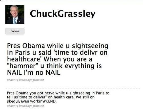 Iowa Senator Chuck Grassley Uses Twitter to Exhibit Insanity, Illiteracy