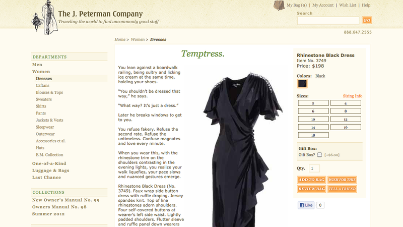 J. Peterman Hawks Dresses, Gets a Little Rapey