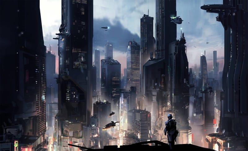 The gigantic futuristic metropolis of Halo 5