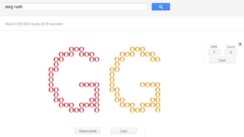 "Go Type ""Zerg Rush"" Into Google"